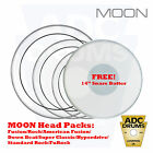 Moon PowerStripe Clear Twin Ply Drum Skin Tom Head Packs: Fusion/Rock/Hyperdrive