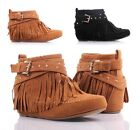 2 Color Tassel Indian Style High Inner Booties Womens Low Heel Shoes Ankle Boots