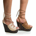 Arina06 Women Open Toe Platform Wedge Leg Wrap Lace Up Corset Gladiator Sandal