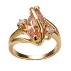 Marquise Cut Champagne topaz CZ gem Wedding Ring 10KT Yellow Gold Filled Sz7/8/9
