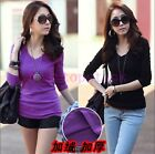 New Womens Casual Base Shirt Cotton Long Sleeve V-Neck College Girl School Back