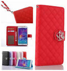 Luxury Camellia Flip Wallet Leather Case Cover w/Strap For Samsung Galaxy Phone