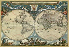 MP46 Vintage 1664 Historical Map Of The World Orbis Tabula Re-Print A1/A2/A3
