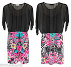 Mini Dress Floral Zebra Print Bodycon Womens Lace Chiffon Frill Contrast Dresses