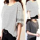 Ladies Womens Half Sleeve T-shirts Striped Blouse Tops Casual Shirts Black White
