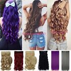 UK Extra Long Curly Wavy Straight 3/4 Full Head Clip In Hair Extension Brown FM5