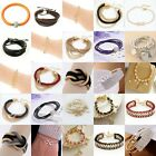 Men Women Fashion Leather Bangle Gold Silver Pearl Inifinity Charm Love Bracelet