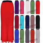 WOMENS LONG ELASTICATED PLAIN LADIES JERSEY BODYCON GYPSY MAXI DRESS SKIRT SIZE