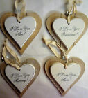 Double Layer Solid Wood Hanging Shabby Chic Love Heart 'I love you Mum, Nan etc'
