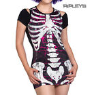 BANNED Ladies Goth T Shirt Top SEQUIN RIBS Pink Skeleton All Sizes