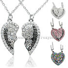 2pcs Set Mother Daughter Love Heart Crystal Beads Pendant Chain Family Necklace