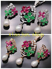 RARE! NATURAL GEMSTONE RUBY EMERALD WHITE PEAR NECKLACE EARRING JEWELRY SET S006