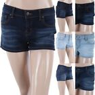 Denim Push Up Shorts Solid One Button 5 Pockets Cropped Casual Cotton Poly S M L