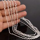 5pcs Lots Silver 2MM Water Wave Chain Necklace Women Girls Simple Jewelry 16-30""