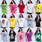 2016 Fashion Women's T-shirt Print Top Slim Batwing Casual Loose Blouse US 14 16