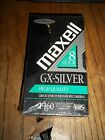 2 PACK Maxell GX-Silver T-160 High Quality VHS 8 hour Blank Video Tape torn wrap
