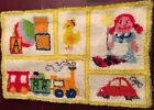 """Finished Latch Hook Rug Completed 23"""" x 35"""" Yellow Border Car Doll Blocks Train"""
