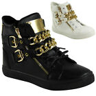WOMENS LADIES LACE UP CHAIN BUCKLE ZIP SNEAKERS TRAINERS FLAT ANKLE BOOTS SIZE