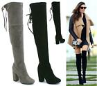 WOMENS LADIES THIGH HIGH BOOTS OVER THE KNEE PARTY STRETCH LACE HIGH HEEL SIZE