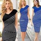 Women Sexy V-neck Striped Tunic Party Cocktail Evening Formal Pencil Midi Dress
