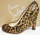 Christian Louboutin Morphing Pony Leopard Wedge Pumps Shoes 37.5