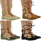 NEW WOMENS LADIES CASUAL WORK SUMMER LOW HEEL FLATS LACE UP SHOES SANDALS SIZE