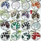 Handmade Natural Gemstone Chip Wire Wrap Tree of Life Round Pendant Fit Necklace