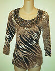 Lynn Ritchie NWT $128 Animal Print  Scoopneck Top   S