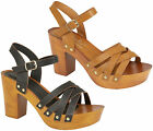 Ladies Womens Block Heel Open Toe Platform Studs Ankle Strap Sandals Shoes Size