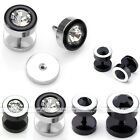 2pc 16G Round Stainless Steel Crystal Men's Ear Plugs Stud Earrings Fake Cheater