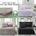 100% Cotton Waffle Ultra Thin Summer Blanket by Ardor - SINGLE DOUBLE QUEEN KING