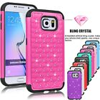 Bling Crystal Rugged Rubber Matte Case Cover For Samsung Galaxy S6 VI / S6 Edge