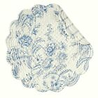 BLUE FLORAL TABLE RUNNER NAPKIN PLACEMAT: CLEMENTINA OFF WHITE TOILE LINENS