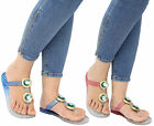 Ladies Girl Beach Summer Retro Diamante Jelly Sandals Flip Flop Women Shoes Size