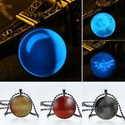 Glow In The Dark Starry Sky Crescent Round Black Necklace Pendant Friends Gifts