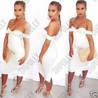 Womens Off Shoulder Evening Party Bodycon Bandeau Midi Dress LBD