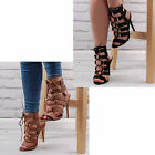 Womens Cut Out Lace Up Heeled Sandals Stiletto High Mid Heel Ladies Shoe Size