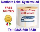 102mm x 51mm WHITE Direct Thermal Labels 1,000 per roll for Datamax type printer