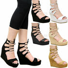 Ladies Womens Cutout Lace Up Wedge Heel Ankle Strap Gladiator Sandals Shoes Size