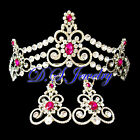 Hot Pink Swarovski Crystal Rhinestone Lacy Crown/Tiara & Earrings Clip On Set