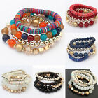 Retro Women Girl Beads Boho Charms Cuff Bangle Wristband Bracelet Jewelry Gift