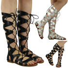 WOMENS LADIES TALL LONG CUTOUT LACE UP FLAT HEEL GLADIATOR SANDALS SHOES SIZE