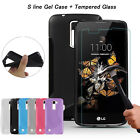 Shockproof Rubber Silicone Gel Case Cover + Tempered Glass For LG Mobile Phones