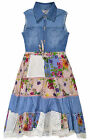 Girls Denim Floral Dress Sleeveless Dress New Kids Cotton Dresses Age 2-11 Years