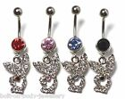 Surgical Steel Dangle Playboy Bunny Belly Bar - 10mm - Red, Blue, Pink or Black