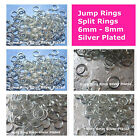 Silver Plated Open Jump Ring  Split Ring 6mm 8mm Jewelry Findings