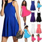 Womens Ladies Strappy Cami Flared Cut Away Neckline Swing Mini Skater Dress Top