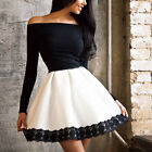Womens Sexy Off Shoulder Long Sleeve Dress Lace Evening Party Short Mini Dress