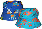 Kids Sun Hats Robot & Crab Design Boys Girls Summer Cotton Beach Bush Cap New