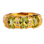 3-stone Green Peridot Ring Sterling Silver Women Gold Plated Dress Decoration